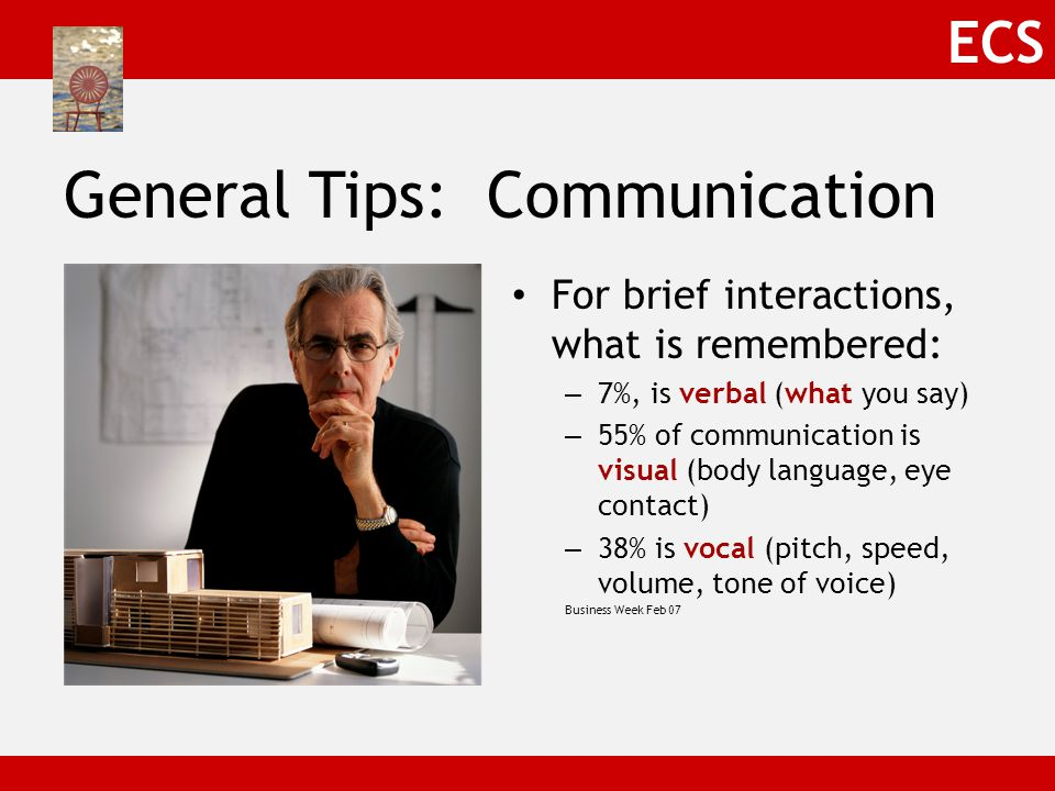 ECS General Tips: Communication For brief interactions, what is remembered: – 7%, is verbal (what you say) – 55% of communication is visual (body language, eye contact) – 38% is vocal (pitch, speed, volume, tone of voice) Business Week Feb 07