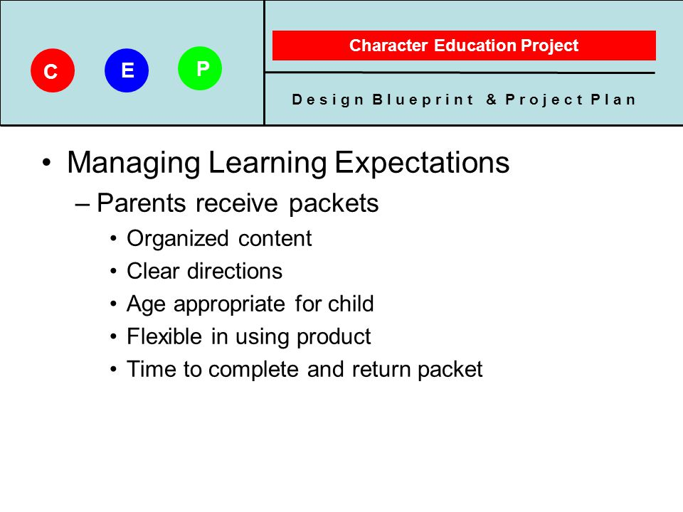 D e s i g n B l u e p r i n t & P r o j e c t P l a n Character Education Project C E P Managing Learning Expectations –Parents receive packets Organi