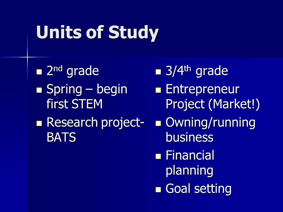 Units of Study 2 nd grade 2 nd grade Spring – begin first STEM Spring – begin first STEM Research project- BATS Research project- BATS 3/4 th grade 3/4 th grade Entrepreneur Project (Market!) Entrepreneur Project (Market!) Owning/running business Owning/running business Financial planning Financial planning Goal setting Goal setting