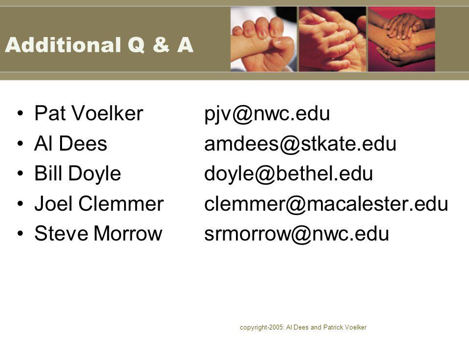 copyright-2005: Al Dees and Patrick Voelker Additional Q & A Pat Voelkerpjv@nwc.edu Al Deesamdees@stkate.edu Bill Doyledoyle@bethel.edu Joel Clemmercl