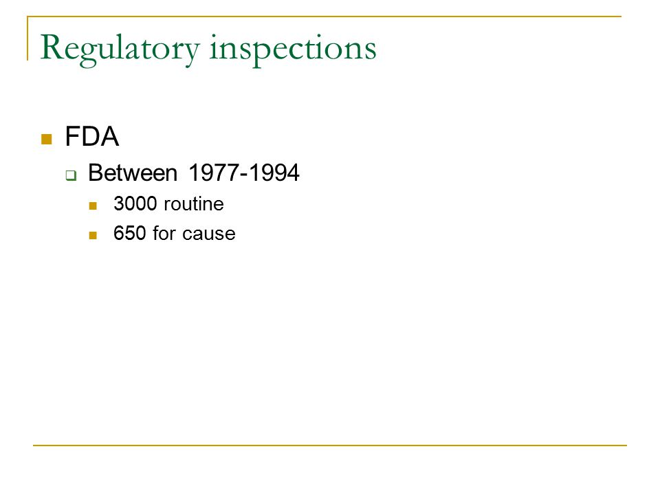 Regulatory inspections FDA  Between 1977-1994 3000 routine 650 for cause