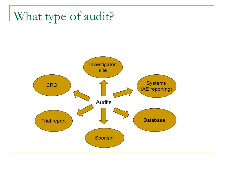 What type of audit? CRO Investigator site Systems (AE reporting) Trial report Sponsor Database Audits