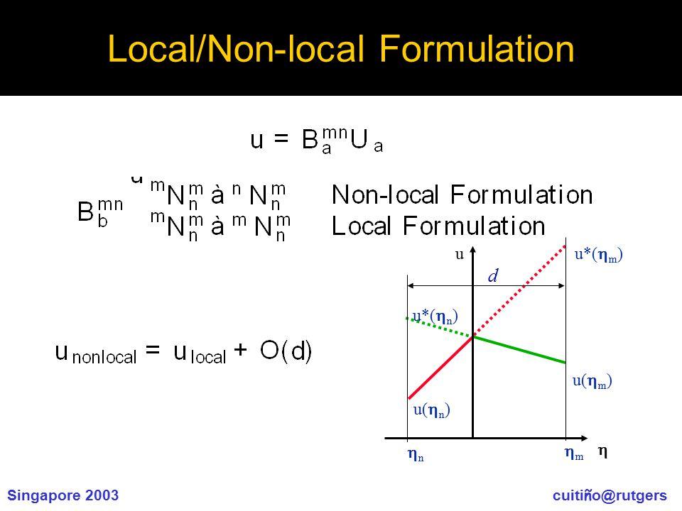 Singapore 2003 cuiti ñ o@rutgers Local/Non-local Formulation  u u*(  m ) u(  n ) u(  m ) u*(  n ) nn mm d