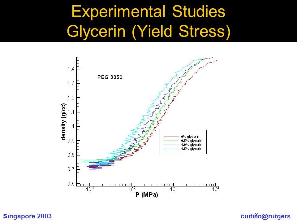 Singapore 2003 cuiti ñ o@rutgers Experimental Studies Glycerin (Yield Stress)
