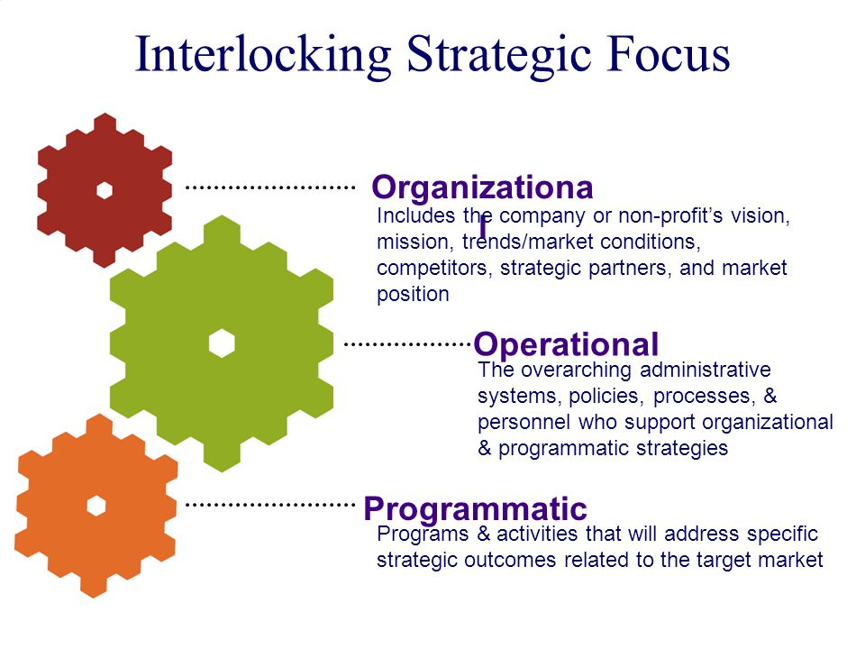 © 2011 PlayBook Consulting Group 15 Interlocking Strategic Focus Organizationa l Includes the company or non-profit's vision, mission, trends/market conditions, competitors, strategic partners, and market position Operational Programmatic The overarching administrative systems, policies, processes, & personnel who support organizational & programmatic strategies Programs & activities that will address specific strategic outcomes related to the target market