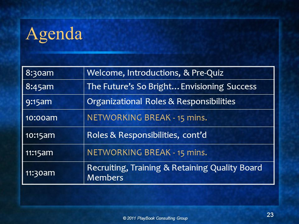 © 2011 PlayBook Consulting Group 23 Agenda 8:30amWelcome, Introductions, & Pre-Quiz 8:45amThe Future's So Bright…Envisioning Success 9:15amOrganizational Roles & Responsibilities 10:00amNETWORKING BREAK - 15 mins.