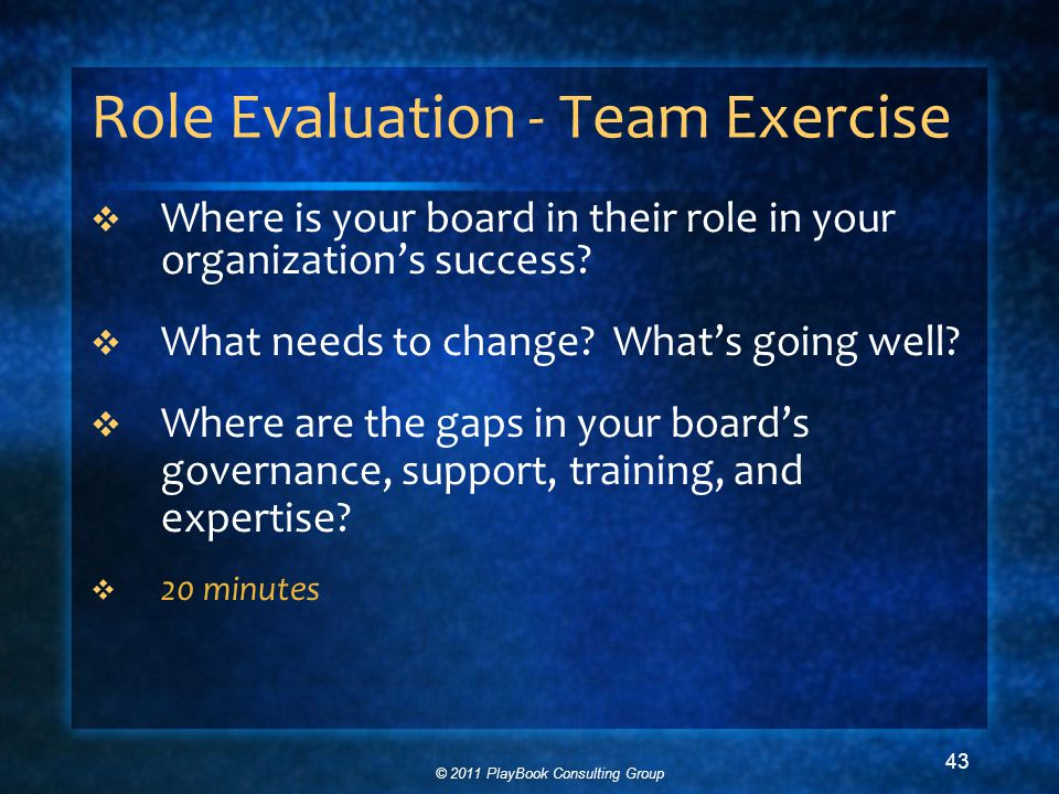 © 2011 PlayBook Consulting Group 43 Role Evaluation - Team Exercise  Where is your board in their role in your organization's success.