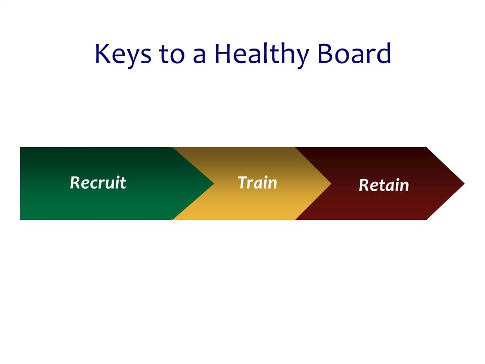 © 2011 PlayBook Consulting Group 45 Keys to a Healthy Board RecruitTrain Retain