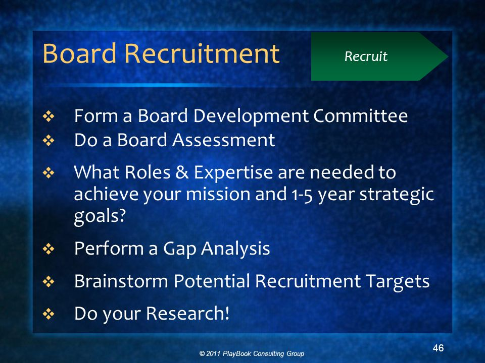 © 2011 PlayBook Consulting Group 46 Board Recruitment  Form a Board Development Committee  Do a Board Assessment  What Roles & Expertise are needed to achieve your mission and 1-5 year strategic goals.