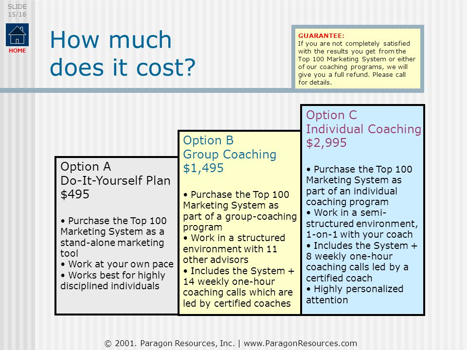 © 2001. Paragon Resources, Inc. | www.ParagonResources.com SLIDE 15/18 HOME How much does it cost? Option A Do-It-Yourself Plan $495 Purchase the Top