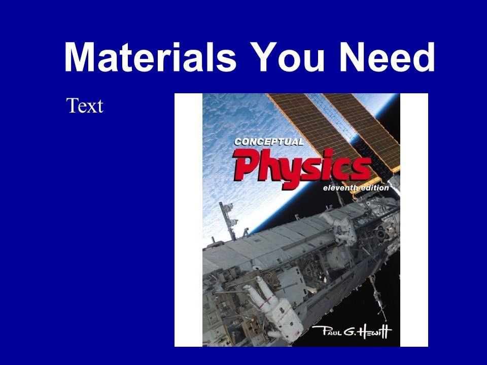 Materials You Need Text
