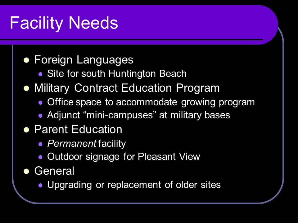 Facility Needs Foreign Languages Site for south Huntington Beach Military Contract Education Program Office space to accommodate growing program Adjun