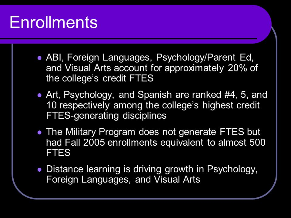 Enrollments ABI, Foreign Languages, Psychology/Parent Ed, and Visual Arts account for approximately 20% of the college's credit FTES Art, Psychology, and Spanish are ranked #4, 5, and 10 respectively among the college's highest credit FTES-generating disciplines The Military Program does not generate FTES but had Fall 2005 enrollments equivalent to almost 500 FTES Distance learning is driving growth in Psychology, Foreign Languages, and Visual Arts