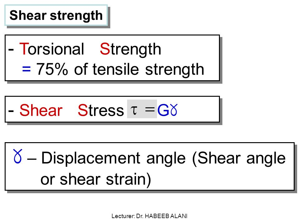Shear strength - Torsional Strength = 75% of tensile strength - Shear Stress G ୪ ୪ – Displacement angle (Shear angle or shear strain) Lecturer: Dr.