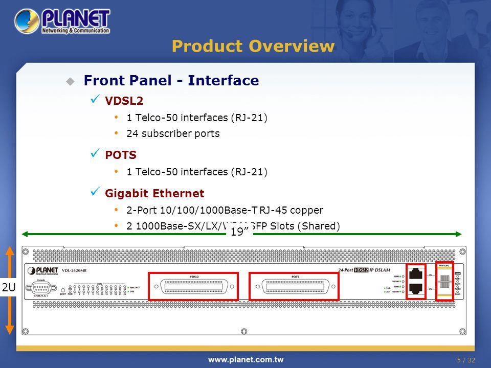 5 / 32 Product Overview  Front Panel - Interface VDSL2 1 Telco-50 interfaces (RJ-21) 24 subscriber ports POTS 1 Telco-50 interfaces (RJ-21) Gigabit Ethernet 2-Port 10/100/1000Base-T RJ-45 copper 2 1000Base-SX/LX/WDM SFP Slots (Shared) 19 2U