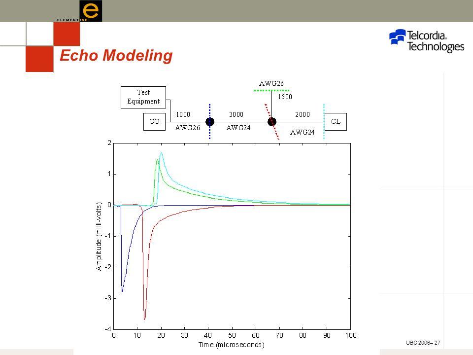 UBC 2006– 27 Echo Modeling