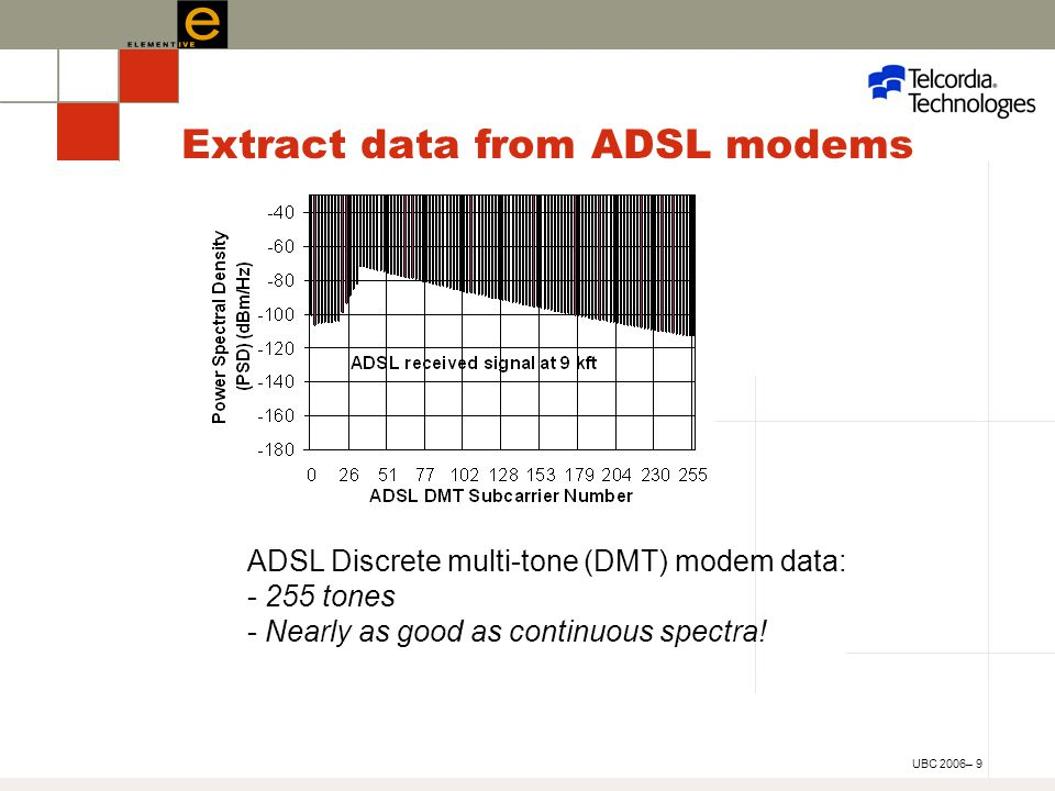 UBC 2006– 9 Extract data from ADSL modems ADSL Discrete multi-tone (DMT) modem data: - 255 tones - Nearly as good as continuous spectra!
