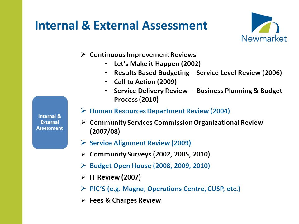 Internal & External Assessment  Continuous Improvement Reviews Let's Make it Happen (2002) Results Based Budgeting – Service Level Review (2006) Call to Action (2009) Service Delivery Review – Business Planning & Budget Process (2010)  Human Resources Department Review (2004)  Community Services Commission Organizational Review (2007/08)  Service Alignment Review (2009)  Community Surveys (2002, 2005, 2010)  Budget Open House (2008, 2009, 2010)  IT Review (2007)  PIC'S (e.g.