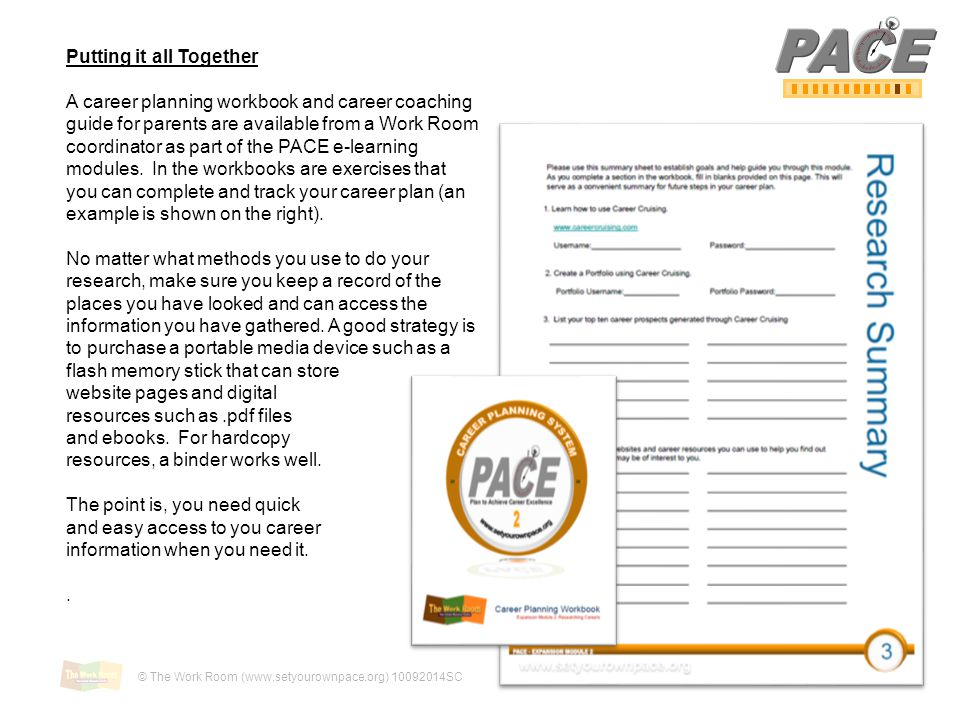 Putting it all Together A career planning workbook and career coaching guide for parents are available from a Work Room coordinator as part of the PACE e-learning modules.
