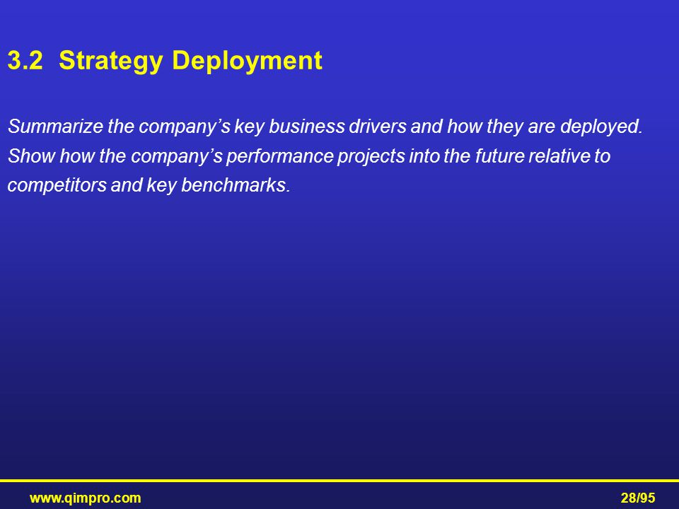 www.qimpro.com28/95 Summarize the company's key business drivers and how they are deployed. Show how the company's performance projects into the futur