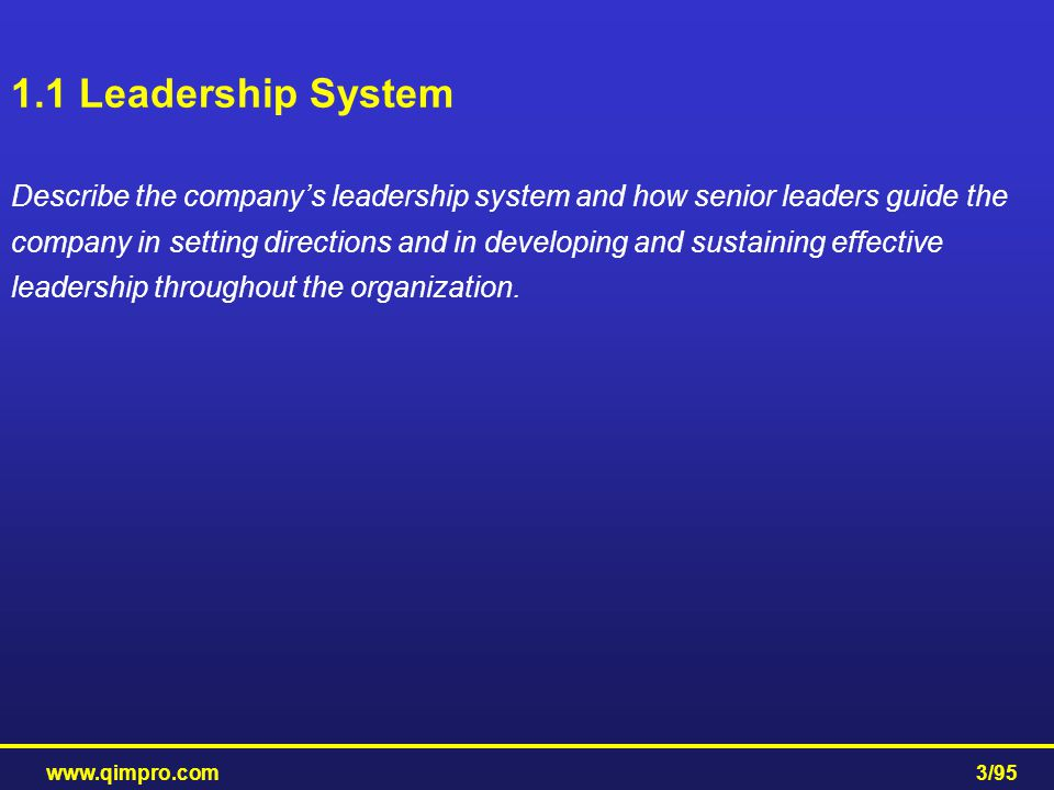 www.qimpro.com3/95 1.1 Leadership System Describe the company's leadership system and how senior leaders guide the company in setting directions and i