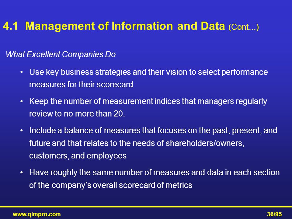 www.qimpro.com36/95 What Excellent Companies Do Use key business strategies and their vision to select performance measures for their scorecard Keep t
