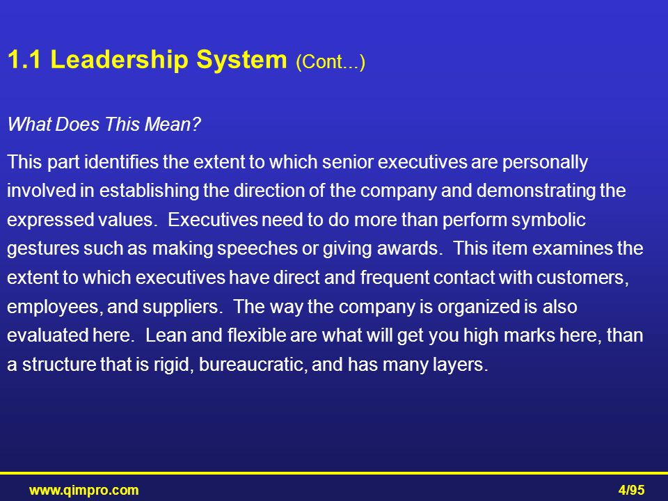www.qimpro.com4/95 What Does This Mean? This part identifies the extent to which senior executives are personally involved in establishing the directi