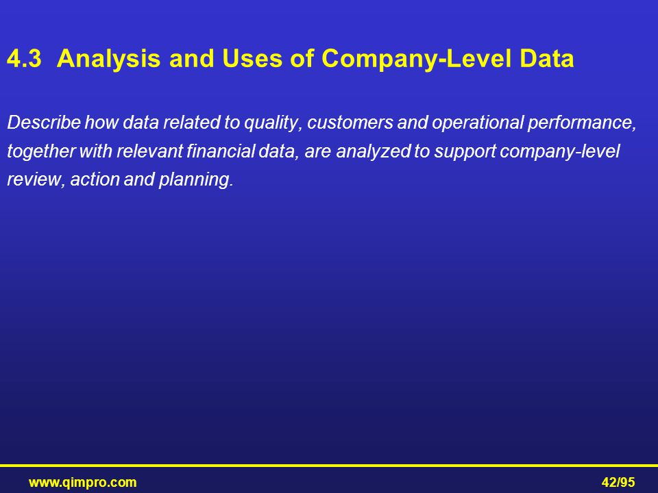 www.qimpro.com42/95 Describe how data related to quality, customers and operational performance, together with relevant financial data, are analyzed t