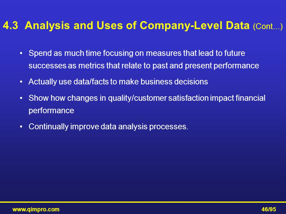 www.qimpro.com46/95 Spend as much time focusing on measures that lead to future successes as metrics that relate to past and present performance Actua