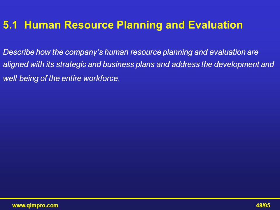 www.qimpro.com48/95 5.1 Human Resource Planning and Evaluation Describe how the company's human resource planning and evaluation are aligned with its