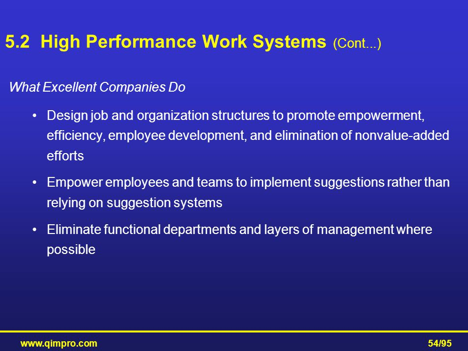 www.qimpro.com54/95 What Excellent Companies Do Design job and organization structures to promote empowerment, efficiency, employee development, and e