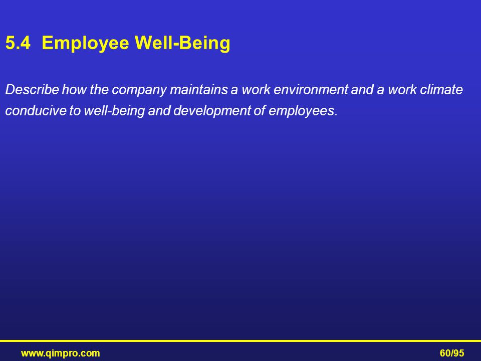 www.qimpro.com60/95 Describe how the company maintains a work environment and a work climate conducive to well-being and development of employees. 5.4