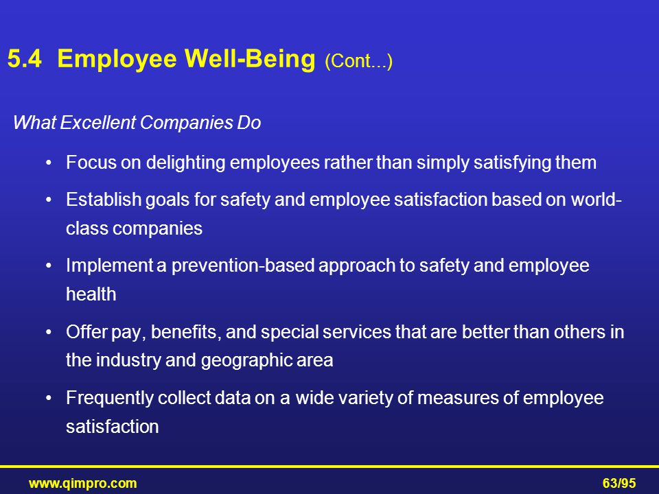 www.qimpro.com63/95 What Excellent Companies Do Focus on delighting employees rather than simply satisfying them Establish goals for safety and employ