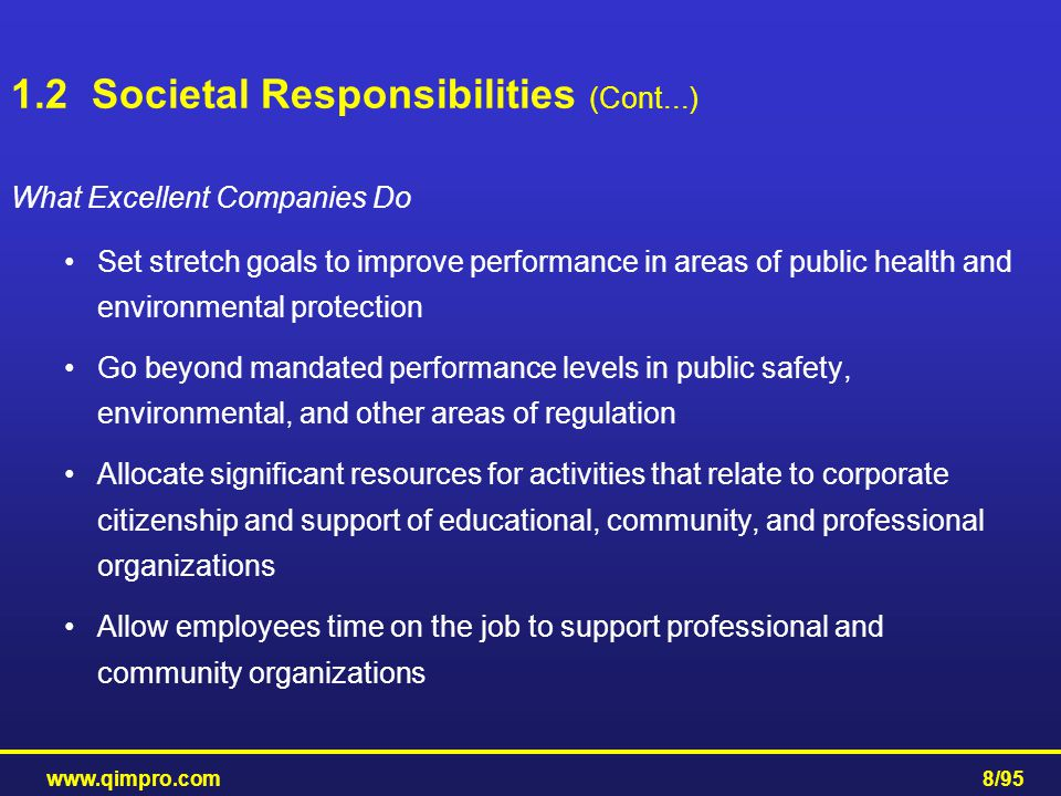 www.qimpro.com8/95 What Excellent Companies Do Set stretch goals to improve performance in areas of public health and environmental protection Go beyo