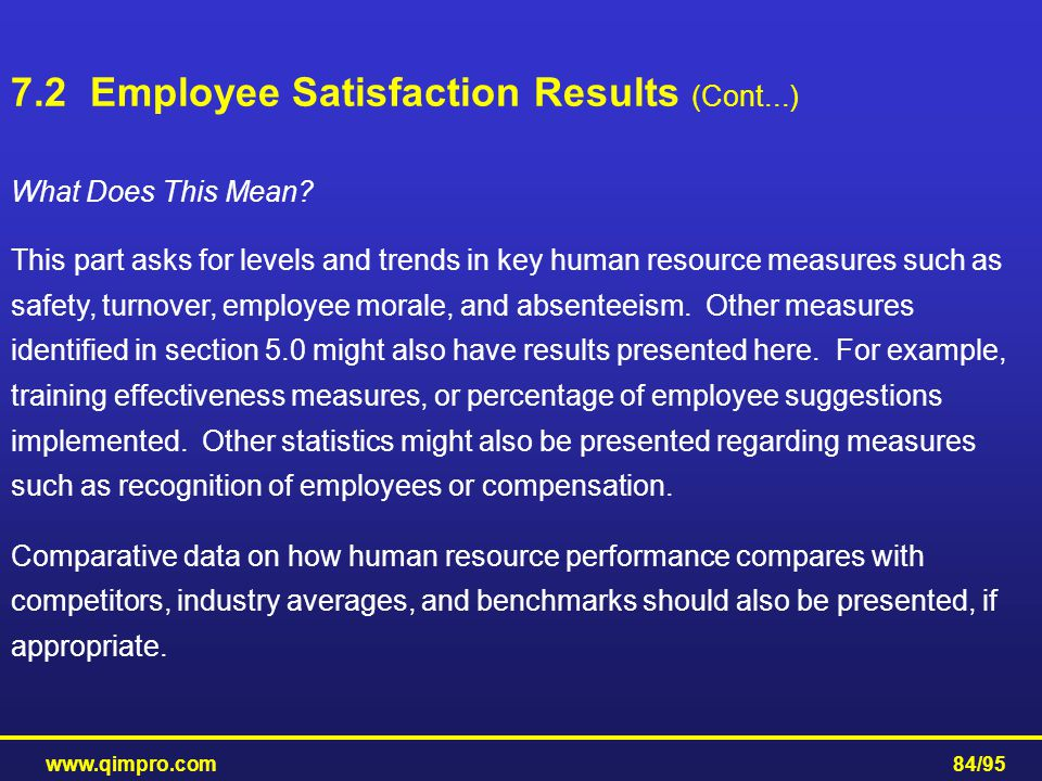 www.qimpro.com84/95 What Does This Mean? This part asks for levels and trends in key human resource measures such as safety, turnover, employee morale