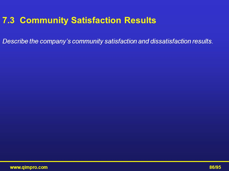 www.qimpro.com86/95 Describe the company's community satisfaction and dissatisfaction results. 7.3 Community Satisfaction Results