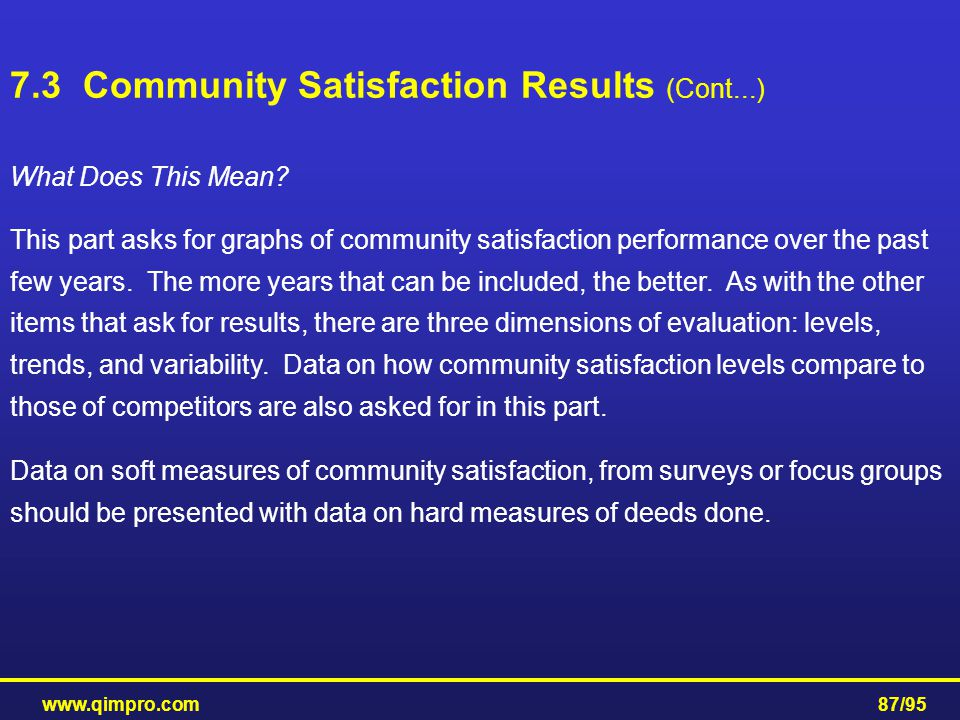 www.qimpro.com87/95 What Does This Mean? This part asks for graphs of community satisfaction performance over the past few years. The more years that
