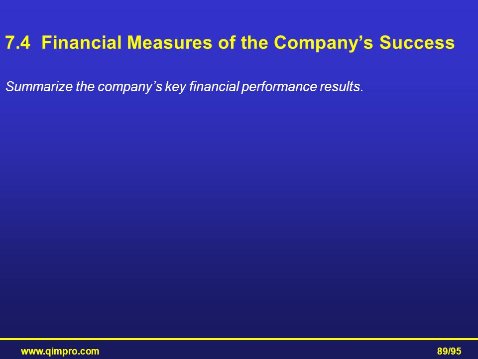 www.qimpro.com89/95 Summarize the company's key financial performance results. 7.4 Financial Measures of the Company's Success