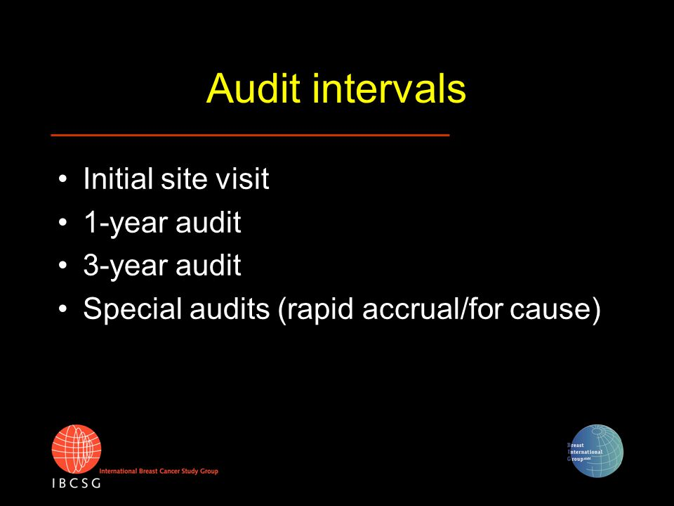 Audit intervals Initial site visit 1-year audit 3-year audit Special audits (rapid accrual/for cause)