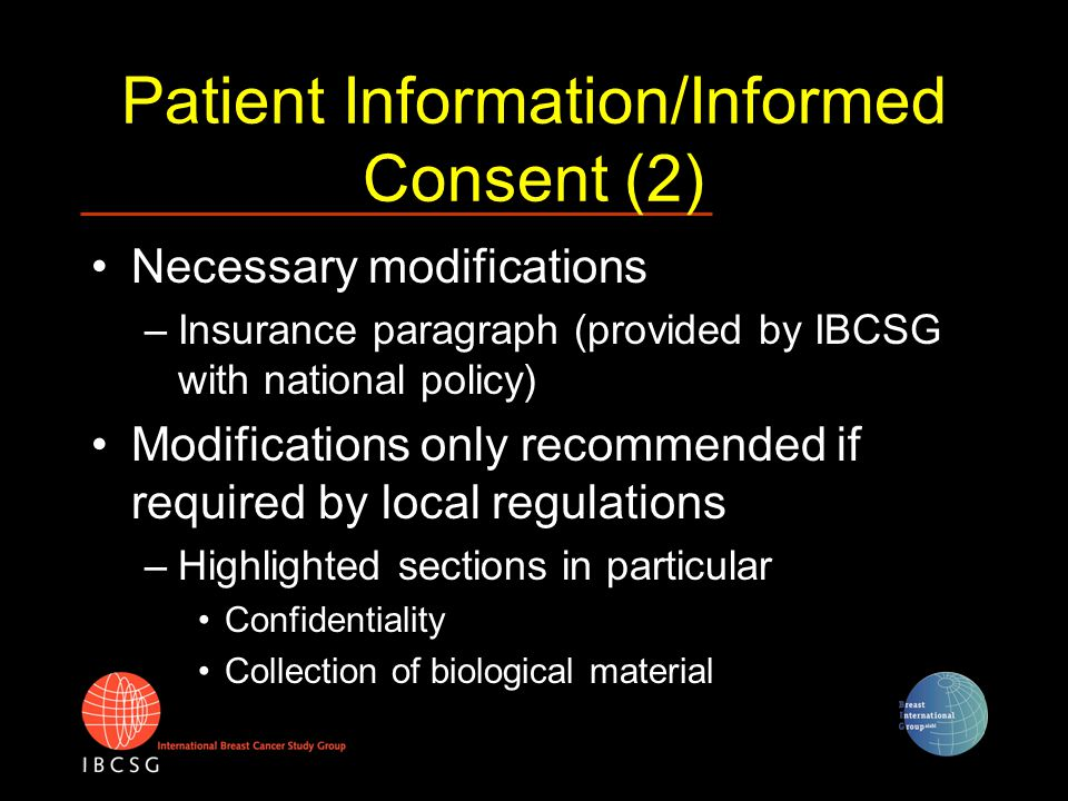 Regulatory Procedures: obtaining EC/HA approvals in EU Submission of Clinical Trial Application (CTA) by coordinating investigator/institution or group to –leading Ethics Committee (EC) –Competent Authority (usually Health Authority, HA) All participating centers should be included in application Parallel submission to EC and HA possible Local EC may adopt positive opinion of leading EC and can request modifications of PIS/IC
