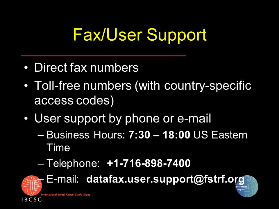 Fax/User Support Direct fax numbers Toll-free numbers (with country-specific access codes) User support by phone or e-mail –Business Hours: 7:30 – 18: