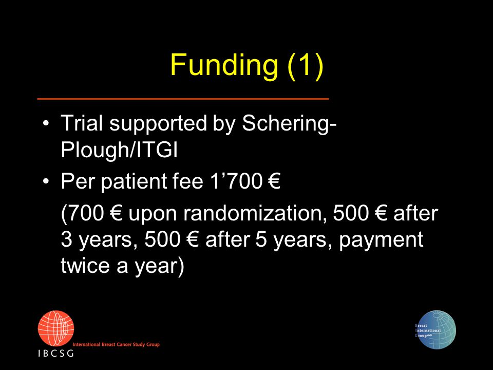 Funding (1) Trial supported by Schering- Plough/ITGI Per patient fee 1'700 € (700 € upon randomization, 500 € after 3 years, 500 € after 5 years, paym
