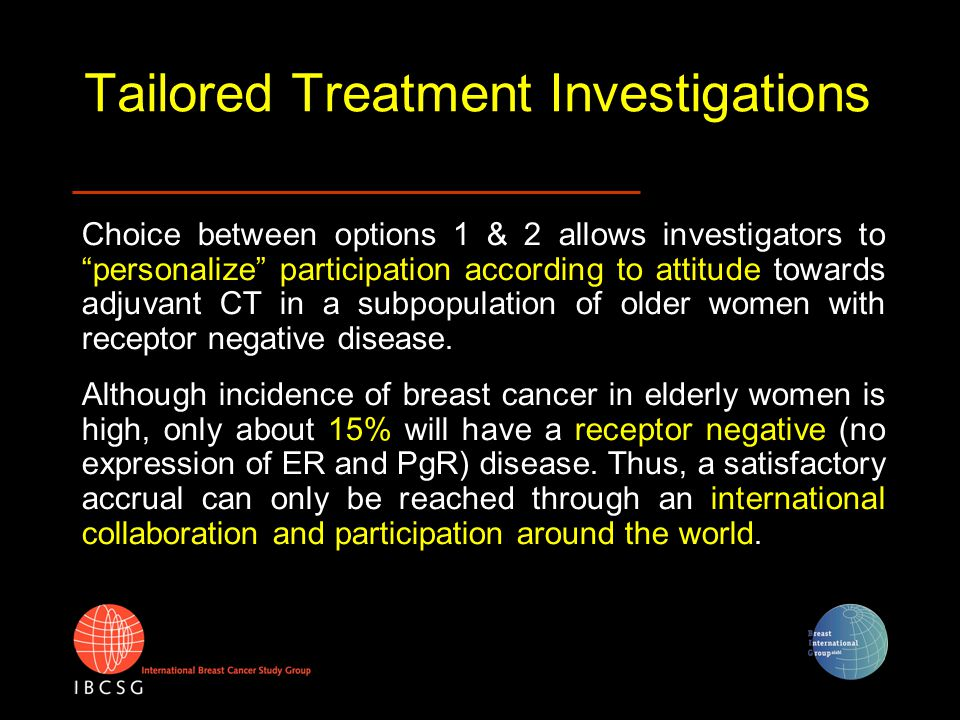 "Tailored Treatment Investigations Choice between options 1 & 2 allows investigators to ""personalize"" participation according to attitude towards adjuv"
