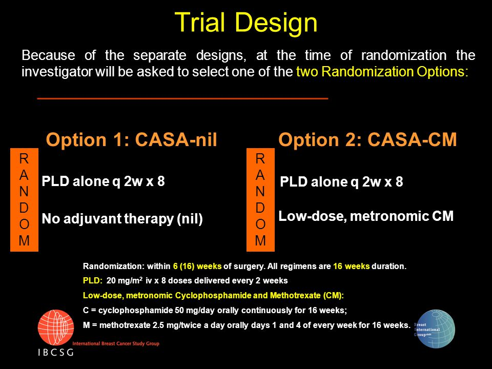 Because of the separate designs, at the time of randomization the investigator will be asked to select one of the two Randomization Options: Low-dose,