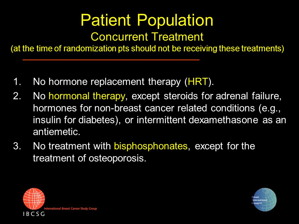 Patient Population Concurrent Treatment (at the time of randomization pts should not be receiving these treatments) 1.No hormone replacement therapy (