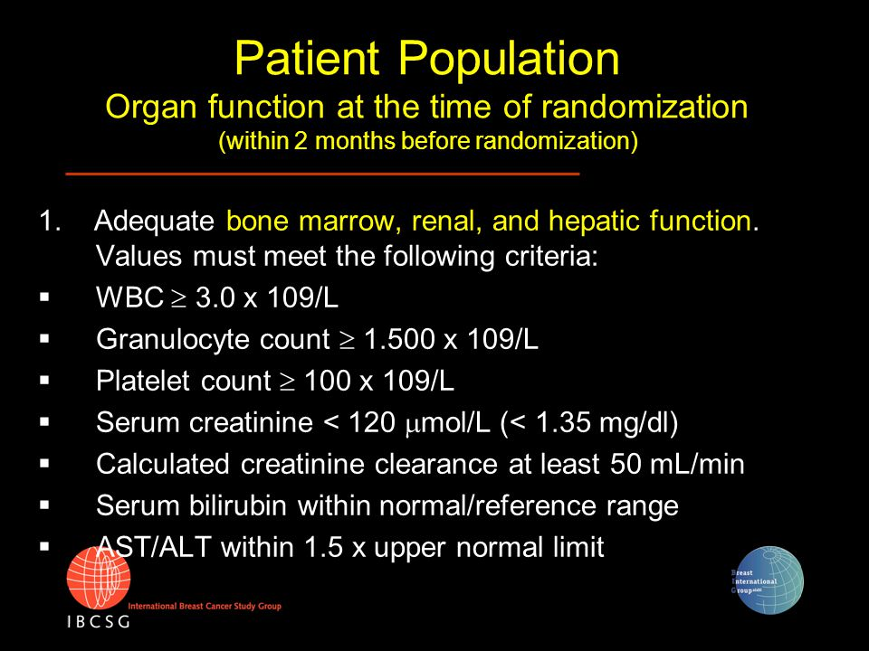 Patient Population Organ function at the time of randomization (within 2 months before randomization) 1. Adequate bone marrow, renal, and hepatic func