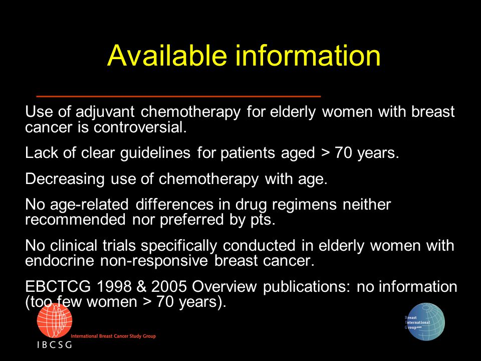 Available information Use of adjuvant chemotherapy for elderly women with breast cancer is controversial. Lack of clear guidelines for patients aged >