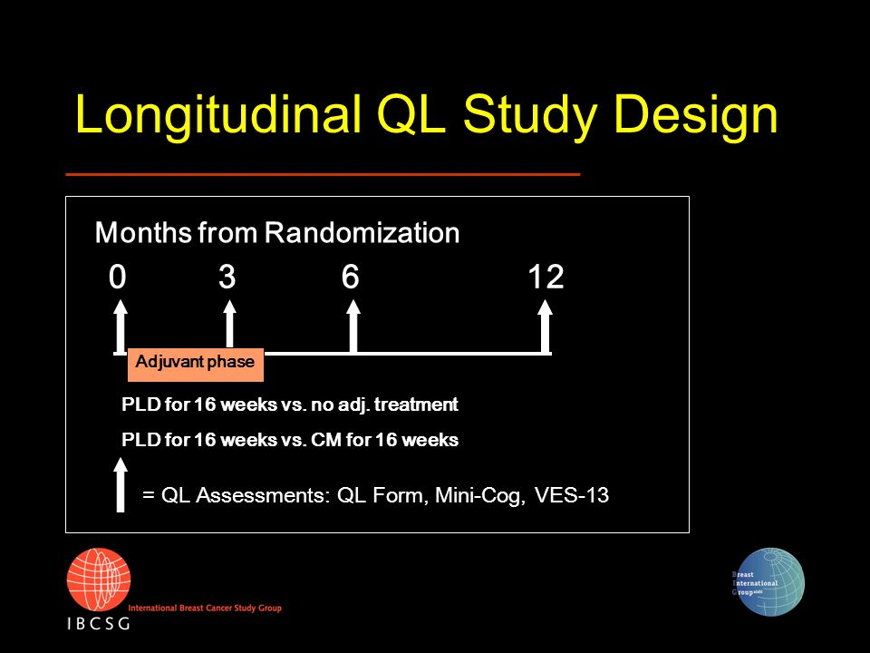 Longitudinal QL Study Design 03612 Months from Randomization Adjuvant phase = QL Assessments: QL Form, Mini-Cog, VES-13 PLD for 16 weeks vs. no adj. t