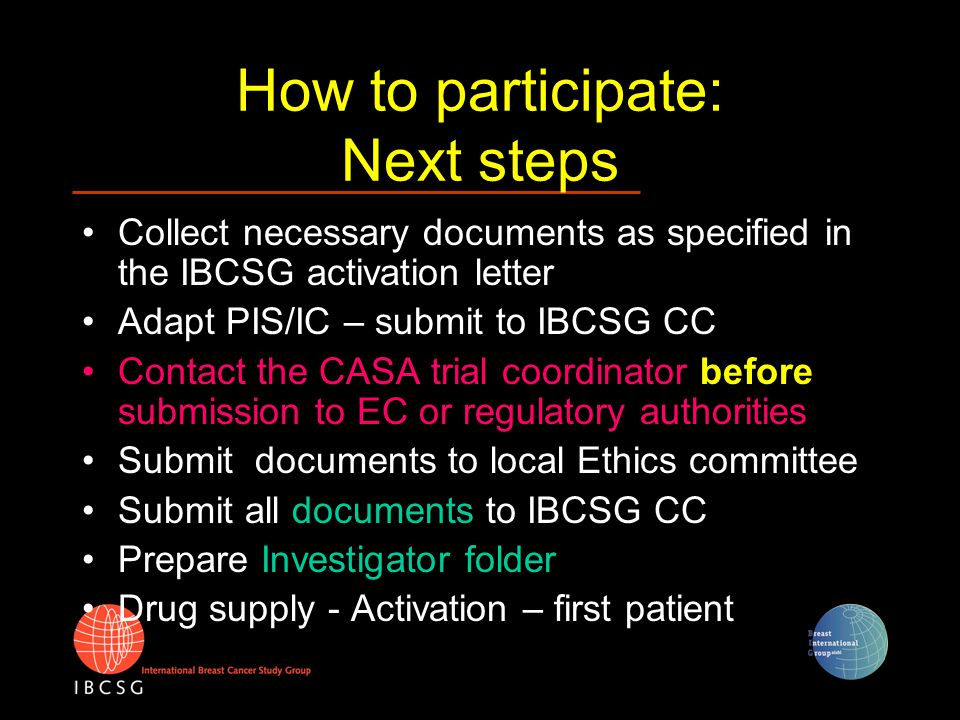 Investigator folder (1) TOC provided by IBCSG CC Binder containing all general documents available from CC Add copy of all center-specific documents needed for activation (see previous slide)