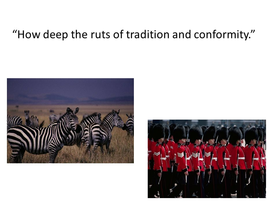 """How deep the ruts of tradition and conformity."""